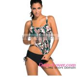 Cheap Stylish Big Sale Dark Camouflage Print 2pcs Tankini Swimsuit Mature Women Swimwear 2016