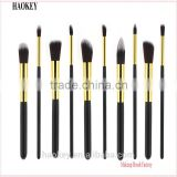 Factory Supply 10pcs Soft Hair Golden+Black Handle Makeup Brush Set Foundation Powder Eyeshadow brush kit tools