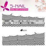 2016 wholesale Transparent Nail Art Stickers White Lace Manicure Decoration Acrylic Nail Decals French Glitters