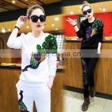 Fashionable women fleece & velvet sportswear sweat suit for adult with high quality wholesale