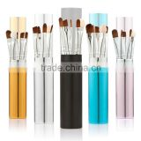 5Pcs Makeup Brush Set Eyeshadow Brush Eyeliner Brush Cosmetic Round Alloy Tube Holder 5 Optional Color
