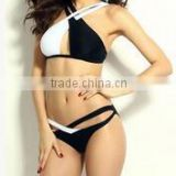 Foreign trade in black and white color matching biniki Europe and sexy women's bathing suit