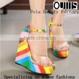 Beautiful rainbow color 13.5cm wedge sandals sexy peep toe ankle strap high heel sandals new fashion party shoes PZ3835