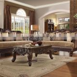 Luxury Villa Living Room Wooden Fabric Sofa/Royal Golden 18th Century Baroque Antique Carved Luxury Living Room Sofa(MOQ=1 Set)