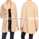 WHOLESALE PLUS SIZE AMERICAN WINTER FASHION SOLID LONG LENGTH OPEN FRONT DRAPED FAUX FUR OPEN FRONT JACKET WOMEN WITH POCKETS