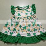 Latest children frocks designs dress whosale girl dresses for st patericks flutter sleeve baby kid clothes