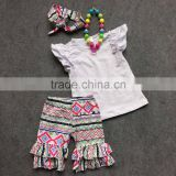 ruffle capri pants girls boutique clothing girl boutique outfit Aztec capri white top cheap outfits on line with accessories