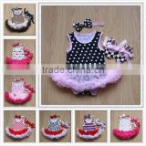 Wholesale 2015 Baby Girl Infant 3pcs Clothing Sets Tutu Romper Dress/Jumpersuit+Headband+Shoes