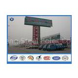 Ladder Attached Ad Promotion Billboard galvanized steel pole , Ground mounted road sign post
