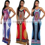 Onen OEM service anti-wrinkle cotton digital print backless strapes africian plus size sleeveless 2016 summer maxi dresses