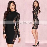 Fashion Women's Sexy Long Sleeve Backless Lace Bodycon Bandage Dresses, Clothes Manufacturer Small Orders