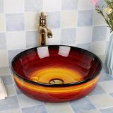 Bathroom red color ceramics round shape tabletop durable new design hotel apartment luxury wash basin sink