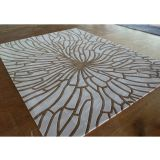 Wool And Acrylic Radial Pattern Rug Industrial Style