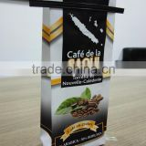 Customized Tin Tie Coffee Bean Bag / Aluminum Foil Side Gusset Quad Seal Packaging Coffee Bag with Valve