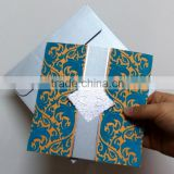 Nice Texture Special Orange Paper wth Blue Flocked Velvet Wedding Invitation Card                                                                         Quality Choice