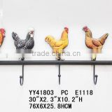 Wholesale vintage cock with embossed finished metal five wall hooks                                                                         Quality Choice