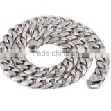 14.5mm Wide Heavy Silver Tone Frosted Cut Curb Cuban Link Mens Chain Boys 316L Stainless Steel Necklace