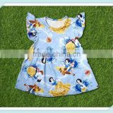 New style children frocks designs girls flutter dress comfortable fabric snow white pattern boutique kids girls dress