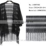 factory custom ladies pashmina poncho costume OEM brand name tassels lace shawl wraps scarf