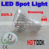 Wholesale Dimmable GU5.3 4W LED Spot Dimming light Spotlight bulb lamp 220V warranty 2 years CE ROHS