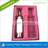 wholesale luxury flocking PS blister packaging inner velet tray for top grade wine bottle