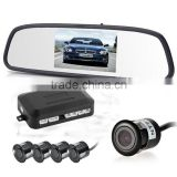 mirror parking sensor 4.3inch color lcd display car mirror reverse sensor and mini 26mm ir night vision camera