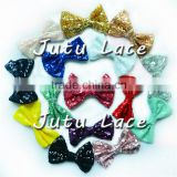 Wholesale large 12cm sparkle sequin fabric hair bowknots glitter bows for clothing/elastic headbands