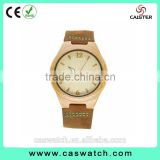 Hot-selling casual Arabic face wood watch, custom made wooden men's women's watch, concise delicate genuine leather strap