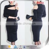 New Trendy Club Dress Black Knit Long Sleeve Bodycon Dress