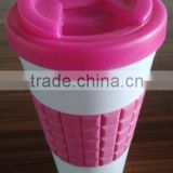 BPA free Plastic Coffee Mug with Silicone Band Plastic Double Wall Coffee Bottle with Locking Lid