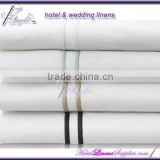 300TC white sateen hotel bed sheets with embroidery lines, white sateen flat sheets for 5-star luxurious hotels