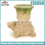 Moss tortoise shaped decorated flower pots for garden