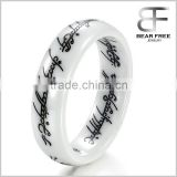 6MM Men's White Ceramic Carbide The Lords Of The Rings Fashion Finger Ring vintage Lettering Scripture Band