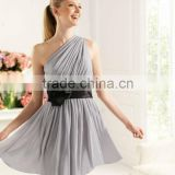 2013 New Designer Simple One-shoulder Chiffon Black Belt Handmade Flower Short Girl Bridesmaid Dress POE-063