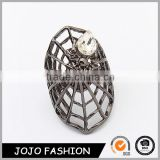 Stainless Steel Nail Rhinestone Big Cobweb Halloween Hollow Finger Ring Design