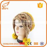 Wholesale new style wool knitted winter hats reflective knit hat with ball top                                                                                                         Supplier's Choice