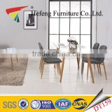 10mm tempered glass top dining table set with metal frame wood surface table legs design