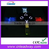 Most popular different shapes red blue yellow white LED 3D engraving logo crystal usb flash drive