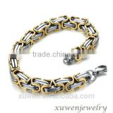 two tone gold plated 316l stainless steel bicycle chain bracelet