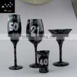 Black wine glass,bar set,10th 20th 30th 40th 50th anniversary stemware