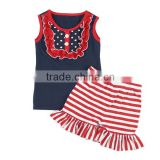 2016 new fashion design girls sleeveless T-shirt & ruffle shorts stripe cotton outfit Patriotic Day Newborn Baby Clothing