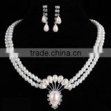 White imitation pearl Jewelry Sets Bridal Wedding With Rhinestone Ball Necklace Earrings Bracelet sets jewelry for wedding