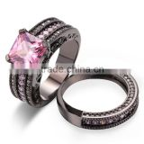 Big Pink Cubic Zirconia Stone Three Rows Channel Setting Wide Ring Sets For Wedding