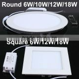 12W 18W Round Square SMD Panel LED Recessed Ceiling Down Light Lamp 85V-265V New Frosted Glass facemask + Die-casting Alu body