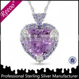 Girl's lover amethyst necklace 925 silver plain heart pendant jewelry