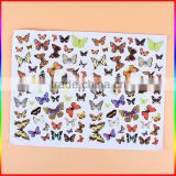 Custom design paper butterfly sticker, waterproof removable adhesive vinyl decoration sticker