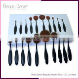 2016 New 10 pcs Golf Makeup Brush Set Foundation Make Up Brushes Kit Gold Oval Tooth Shape High Quality Beauty Tools With Box