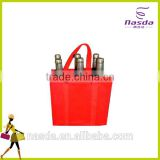 6 bottles wholesale wine bag,red color wine bag with printing,multipurpose wine bag with strong handle