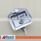Truck or Trailer Flush Mount Polished Stainless Steel Key-Locking Recessed Folding T Handle