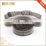 Italy Style Living Room Sectional Sofa Set/ Post-Modern Design Fabric Chesterfield Couch Daybed/ Luxury Stylish U-shape Sofa Set